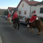 Weihnachtsmänner am Pferd mitten in Rohrbach